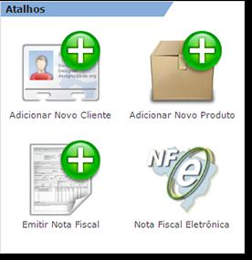 Quadro de atalhos para as principais funções na tela inicial